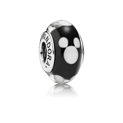 disney, mickey silver PANDORA charm with black and white murano glass, 791633